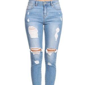 Denim - High rise Destruction Ankle Jeans
